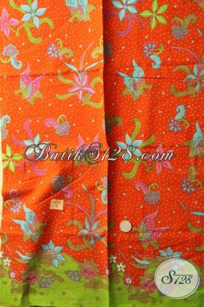 Kain Batik Halus Motif Cendrawasih Orange Bahan Batik Promo kain batik murmer kwalitas bagus warna orange batik print