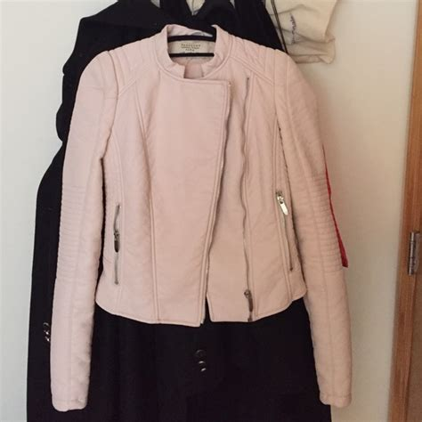 light pink jacket zara jackets coats trafaluc light pink faux leather