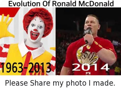 Ronald Mcdonald Memes - evolution of ronald mcdonald 1963 2013 2o 14 please share