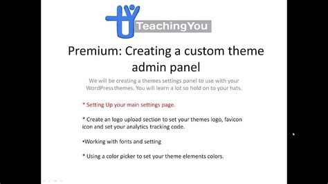 make theme admin how to create a custom wordpress theme admin panel from
