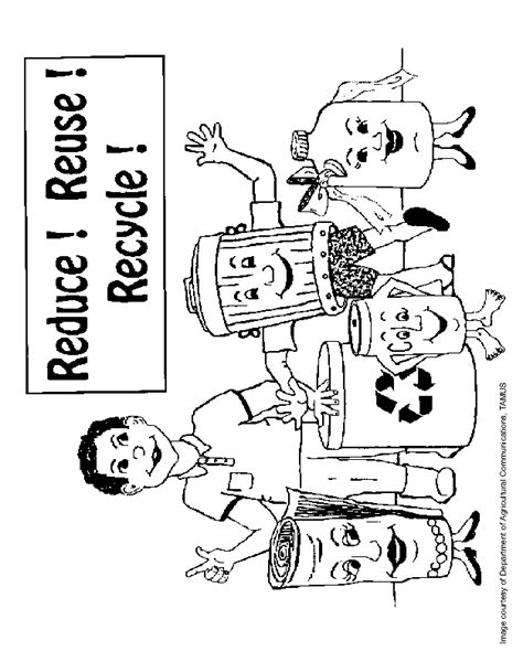 coloring pages for recycling reduce reuse and recycle colouring pictures
