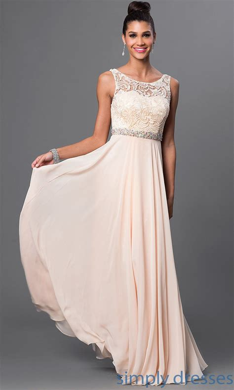 dq  sleeveless floor length lace top prom gown