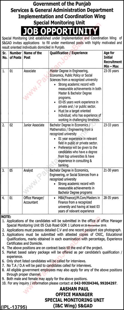 Mba Punjab Lahore 2015 by Service And General Administration Department Punjab