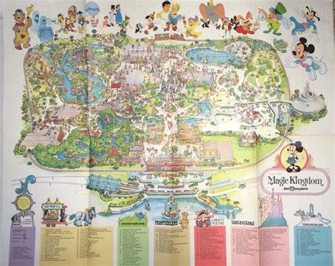 disney world magic kingdom map 1979 magic kingdom wall map large 37 x 31 walt disney world