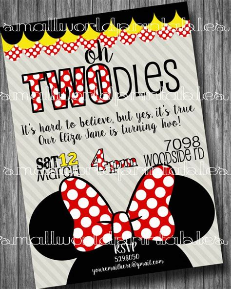 printable birthday invitations and envelopes oh twodles invitations minnie mouse girls birthday party
