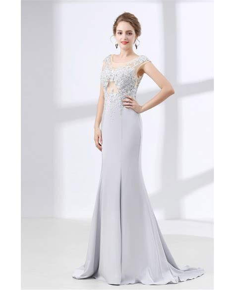 dress with beading 2018 silver trumpet fit formal dress with lace beading