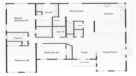 three bedroom two bath house plans 3 bedroom ranch house open floor plans three bedroom two