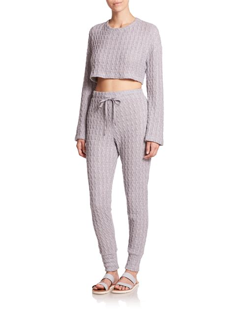 cropped cable knit sweater csbla cropped cable knit sweater in gray lyst