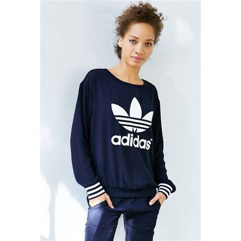 Fero Adidas Navy Jaket Sweater adidas originals navy crepe track crew featuring polyvore fashion clothing tops sweaters