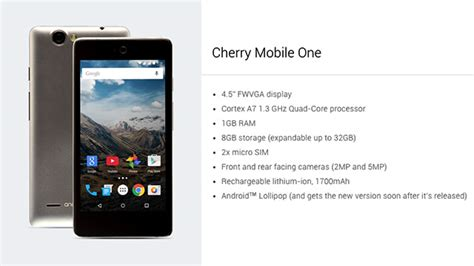 one mobile one cherry mobile one myphone uno specifications revealed