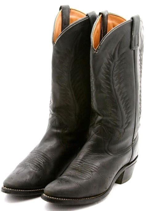 A De 57 Hitam Boots mens cowboy boots size 10 d black leather western dress vintage