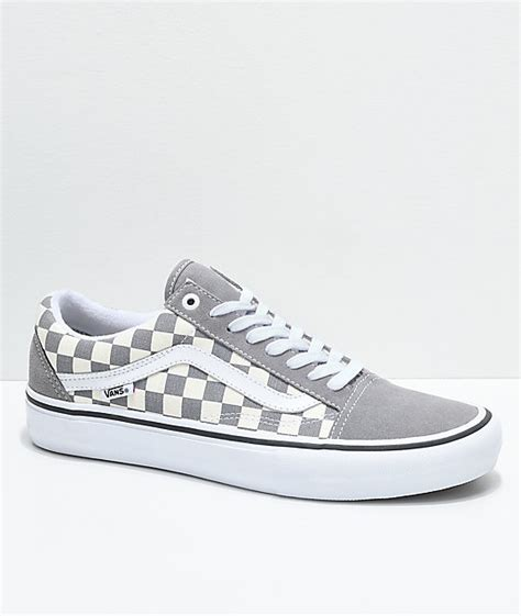 Vans Skool Black Grey vans skool pro grey checker white skate shoes zumiez