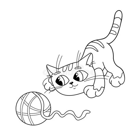 cats playing coloring pages coloring page outline of cat playing with ball of yarn