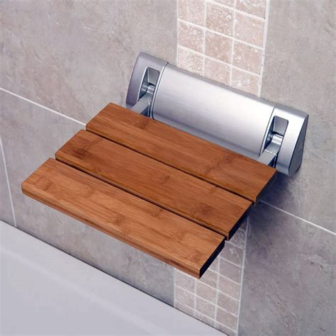 Bathroom Shower Seats Wall Mounted Bathroom Wall Mounted Solid Wood Folding Shower Seat Wide Base Stools Benches Ebay