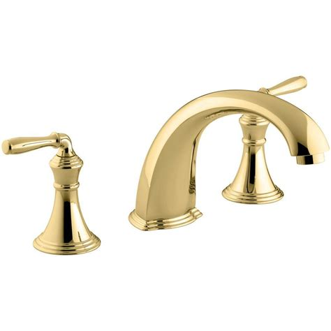 shop kohler essex vibrant polished brass 2 handle high arc kohler devonshire 2 handle deck and rim mount roman tub