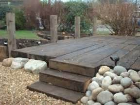railway sleepers as decking ideas for the house