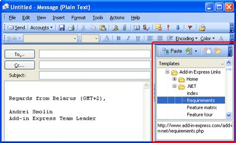Build Outlook Add In In Net To Manage Outlook Templates Signatures Custom Email Template Outlook