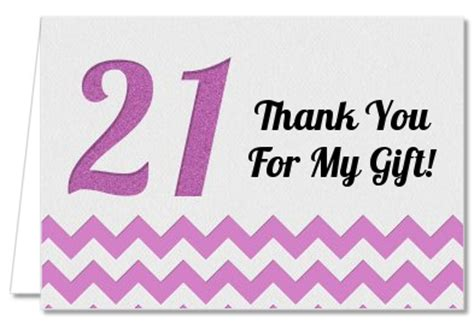 21st Birthday Thank You Card Templates by Birthday Thank You Cards 21st Birthday Chevron