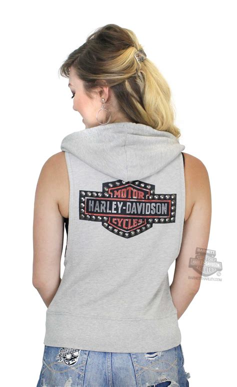 harley davidson womens studded trademark bs full zip tan sleeveless hoodie