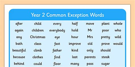 new year related words year 2 common exception words year 2 common exception