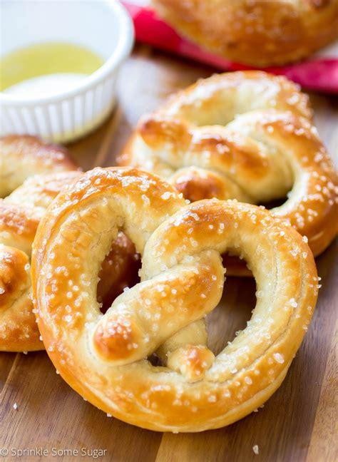 Handmade Pretzels - soft pretzels sprinkle some sugar