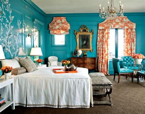 wandfarbe türkis schlafzimmereinrichtung braun