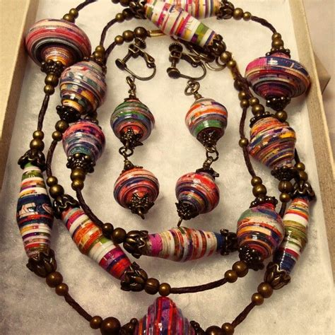 How To Make A Paper Bead Necklace - paper bead necklace and earring gift set by johadesigns