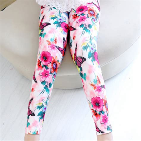 flower pattern jeggings kids trouser toddler milk silk pant girls flowers pattern