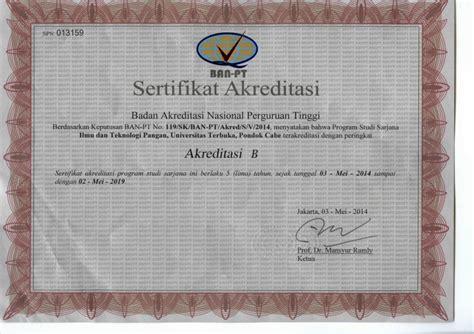 Surat Keterangan Akreditasi Universitas by Sertifikat Akreditasi Ban Pt Universitas Terbuka