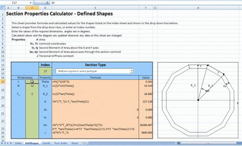section properties section properties of defined shapes spreadsheet
