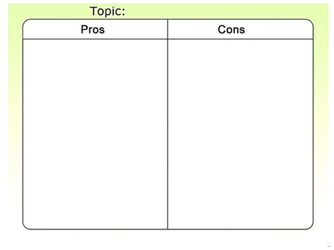 pros and cons list template tables chart splendid pictures