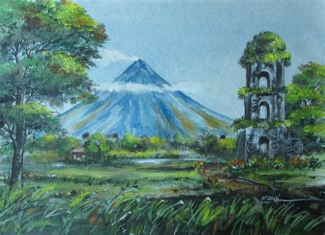 painting montana mt mayon volcano painting by rene salalac