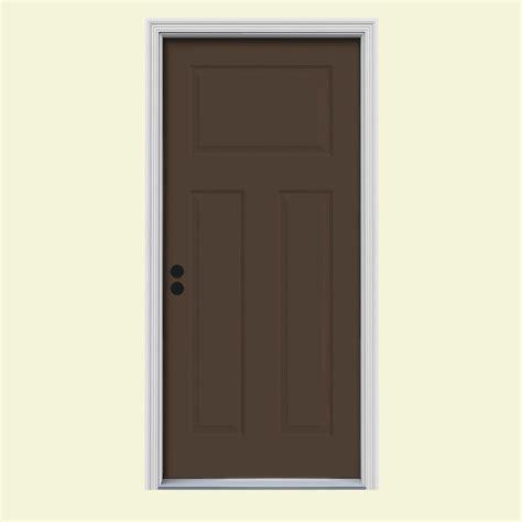 3 Panel Exterior Door Jeld Wen 34 In X 80 In 3 Panel Craftsman Chocolate Painted Steel Prehung Right