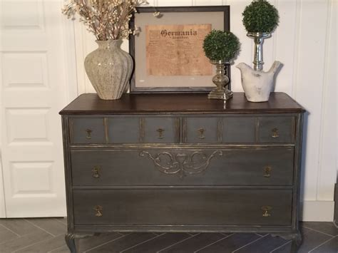 Grey Stained Dresser by Sold Gray Painted Dresser With Stained Top By