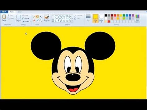 paint draw how to draw mickey mouse in ms paint
