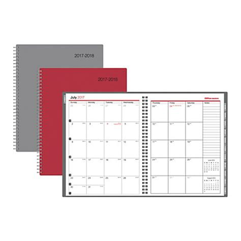 Office Depot Planners Office Depot Brand Monthly Academic Planner 8 12 X 11