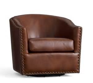 harlow leather swivel armchair pottery barn