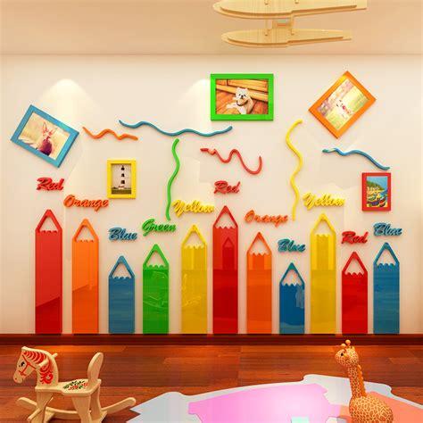 mi cartoon themes colored pencils cartoon 3d acrylic wall stickers living