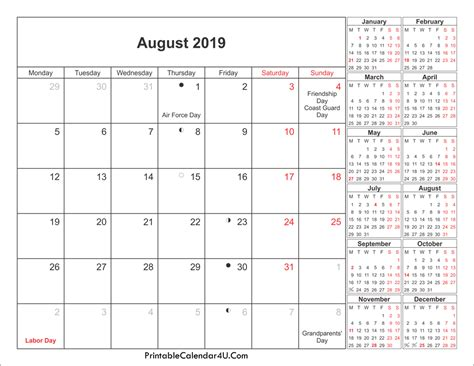 Calendar 2019 Printable With Holidays August 2019 Calendar Printable With Holidays Pdf And Jpg