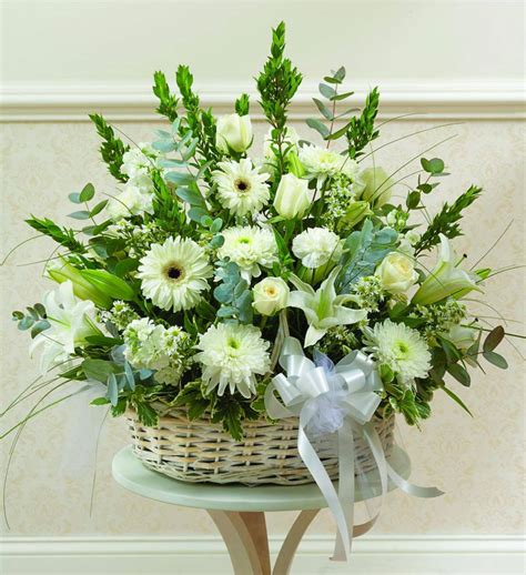 Funeral Baskets by White Sympathy Basket Avas Flowers