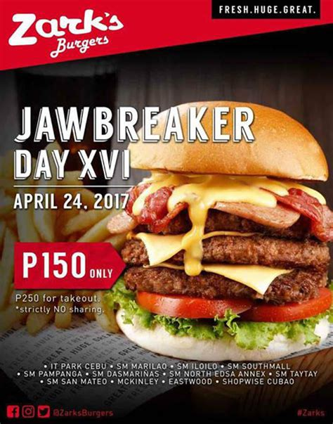 Eat A Burger Save A Price Tag by Discounted Burger On Jawbreaker Day At Zark S Burgers