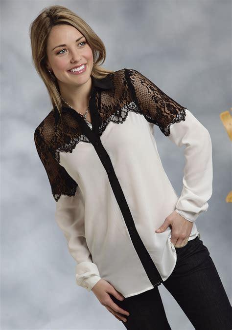 19643 Blouse Blackwhite roper 174 s white black lace georgette blouse