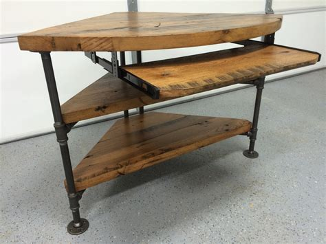 reclaimed wood corner table desk solid oak w black iron pipe