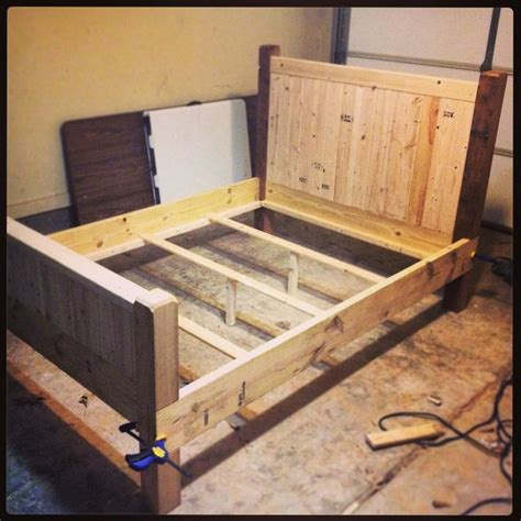Wooden Post Bed Frames Diy Size Bed Frame Almost Finished Made With 2x4s 2x8s And 4x4 Posts Result Will