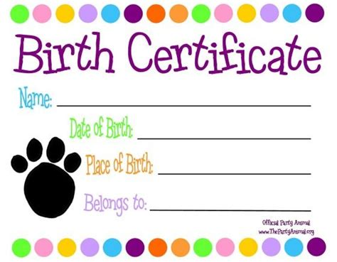 free puppy birth certificate template pet themed custom birth certificate to go