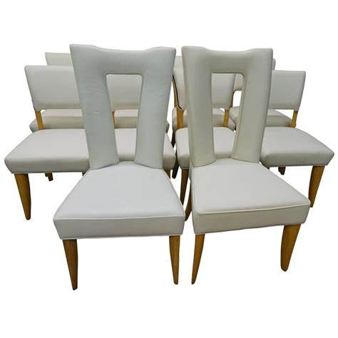 amazing set ten paul laszlo leather dining chairs mid