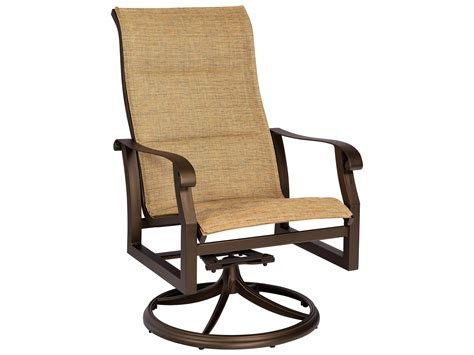 Woodard Cortland Padded Sling Aluminum High Back Swivel Aluminum Sling Patio Chairs