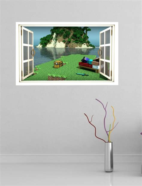 full wall stickers for bedrooms minecraft full colour magic window image wall sticker