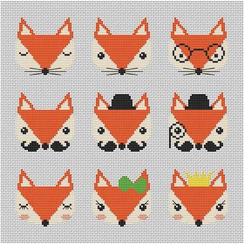 fox pattern pinterest nine cute fox cross stitch pattern modern cross par