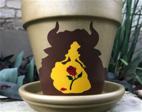 beauty and the beast pot painted flower pot etsy